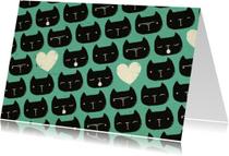 Dierenkaarten - Dierenkaart Blauw Zwarte Kat