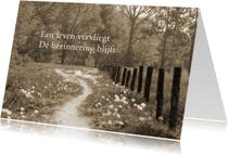 Condoleancekaarten - een leven vervliegt - paadje sepia