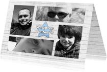Jubileumkaarten - Feest hout ster en 4x foto