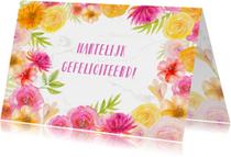 Felicitatiekaarten - Felicitatie bloemen in aquarel