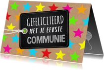 Felicitatiekaarten - Felicitatie communie gekleurde sterren kraft labelprint