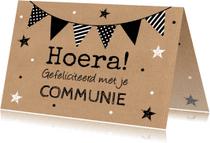 Felicitatiekaarten - Felicitatie communie kraft slinger