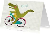 Zomaar kaarten - Felicitatie hello alligator