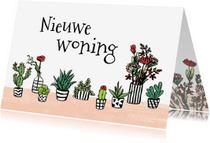 Felicitatiekaarten - Felicitatie huis met plantjes en bloemen
