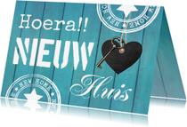 Felicitatiekaarten - Felicitatie nieuwe woning hout blauw