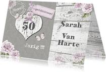Verjaardagskaarten - Felicitatie Sara hart en rozen vintage