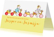 Felicitatiekaarten - Felicitatie-tweeling op fietsjes
