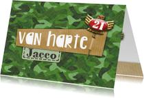 Verjaardagskaarten - Felicitatie verjaardag camouflage speld