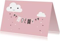 Felicitatiekaarten - Felicitatie - Wolkslinger roze