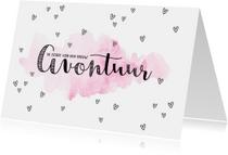 Felicitatiekaarten - Felicitatiekaart de start van een nieuw avontuur roze