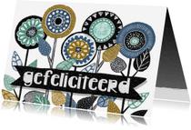 Felicitatiekaarten - felicitatiekaart divers bloemen retro