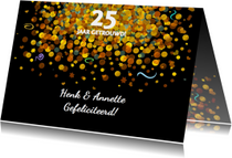 Felicitatiekaarten - Felicitatiekaart met confetti op zwarte achtergrond