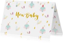 Felicitatiekaarten - Felicitatiekaart vosjes met een hoedje New Baby