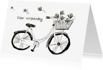 Verjaardagskaarten - Fijne verjaardag fiets en bloem