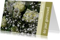 Jubileumkaarten - Fotokaart witte rozen 60 jaar