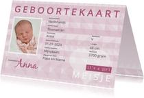 Geboortekaartjes - Geboorte identiteitskaart  meisje