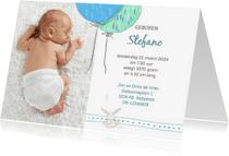 Geboortekaartjes - Geboortekaart jongen, ballonnen met konijn