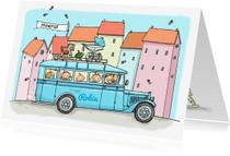 Geboortekaartjes - Geboortekaart retro bus