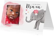 Geboortekaartjes - Geboortekaartje adoptie met lief olifantje voor een meisje