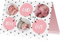 Geboortekaartjes - Geboortekaartje meerling met hartjes