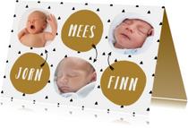 Geboortekaartjes - Geboortekaartje meerling met stoere driehoekjes