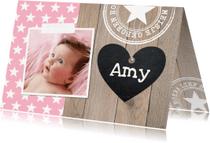 Geboortekaartjes - Geboortekaartje meisje sterren hout
