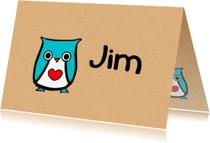 Geboortekaartjes - geboortekaartje uil Jim