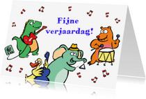 Dierenkaarten - Gekke dieren maken muziek