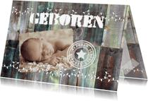Geboortekaartjes - Gekleurd hout met slinger-isf