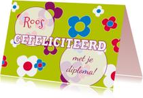 Geslaagd kaarten - Geslaagd bloemen meisje - SZ