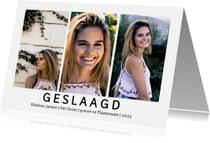 Geslaagd kaarten - Geslaagd drie foto's modern
