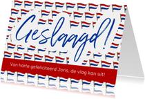 Geslaagd kaarten - Geslaagd - vlag met ruimte voor naam