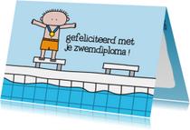 Geslaagd kaarten - Geslaagd Zwemdiploma Jongen