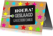 Geslaagd kaarten - Geslaagdkaart sterren label en kraftprint