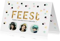 Uitnodigingen - Gezellige hippe confetti uitnodiging met foto collage