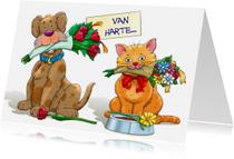 Dierenkaarten - Grappige felicitatiekaart met hond en kat met bloemen