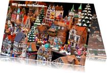 Kerstkaarten - Grappige verhuiskaart met huisjes van porselein