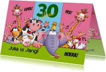 Verjaardagskaarten - grappige verjaardagskaart aanpasbaar leeftijd met dieren