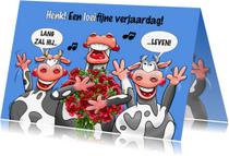 Verjaardagskaarten - Grappige verjaardagskaart met 3 koeien en rozen voor een man