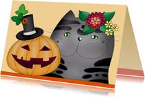 Halloween kaarten - Halloween Kat en pompoen met hoedje  - SK