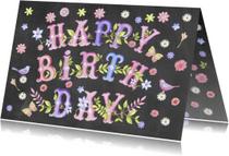Verjaardagskaarten - Happy Birthday vrolijke tekst