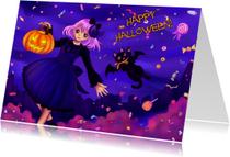 Halloween kaarten - Happy Halloween snoepjes nacht