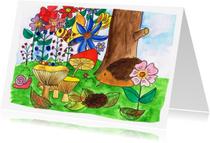 Ansichtkaarten - Herfst kaart met egel