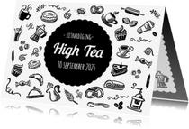 Uitnodigingen - High Tea Uitnodiging Zwart Wit