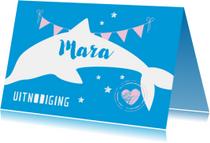 Kinderfeestjes - Hippe uitnodiging met een dolfijntje