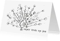 Geslaagd kaarten - Hoera geslaagd kaart met pauw