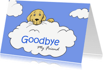 Condoleancekaarten - Hond op wolk - goodbye my friend