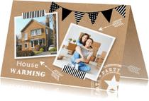 Uitnodigingen - Housewarming uitnodiging fotocollage kraftprint