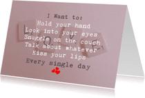 Liefde kaarten - I want to...............