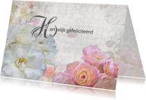Verjaardagskaarten - Jarig met witte en roze rozen